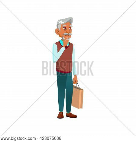 Thoughtful Aged Man With Shop Bag Standing In Line Cartoon Vector. Thoughtful Aged Man With Shop Bag