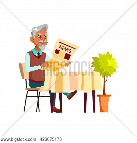 Latin Senior Man Reading Newspaper At Cafe Table Cartoon Vector. Latin Senior Man Reading Newspaper