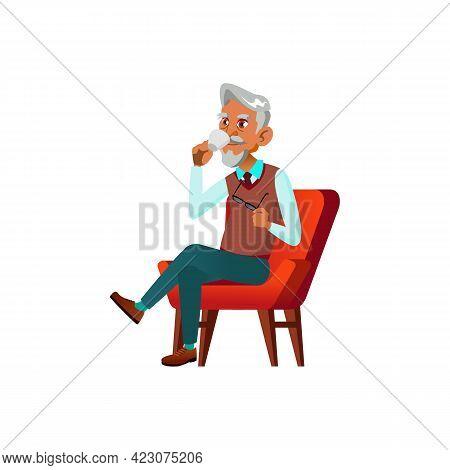 Elegant Old Man Drinking Coffee In Living Room Cartoon Vector. Elegant Old Man Drinking Coffee In Li