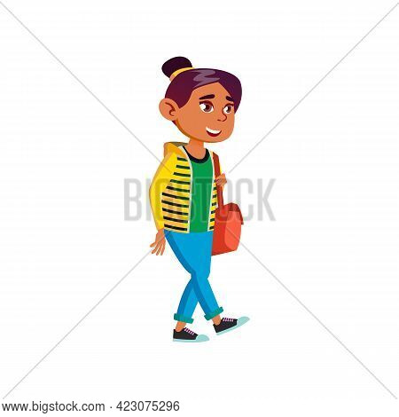Happy Girl Teenager Walking In Park Cartoon Vector. Happy Girl Teenager Walking In Park Character. I