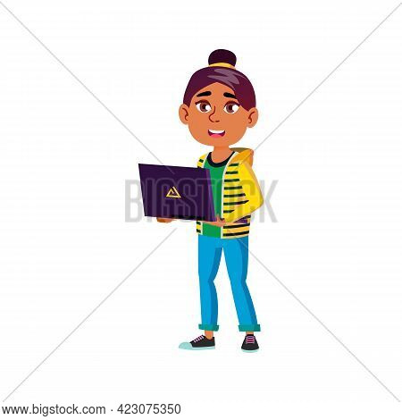 Happy Girl Teenager Holding Laptop Cartoon Vector. Happy Girl Teenager Holding Laptop Character. Iso
