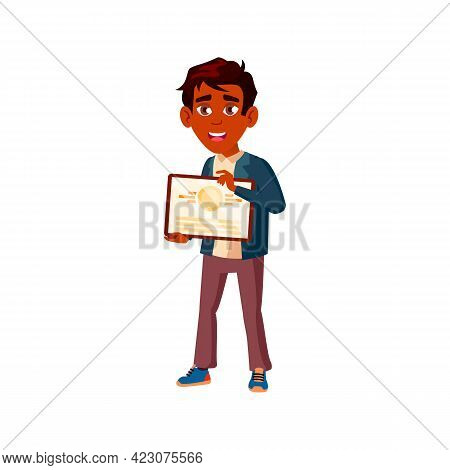 Happiness Boy Holding Graduation Diploma Cartoon Vector. Happiness Boy Holding Graduation Diploma Ch