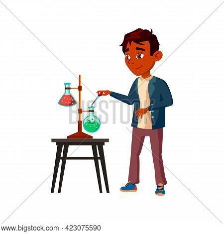 Boy Schoolboy Making Laboratory Experiment Cartoon Vector. Boy Schoolboy Making Laboratory Experimen