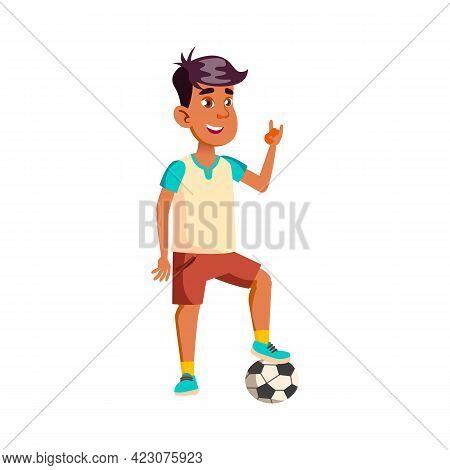 Boy Footballer With Ball Show Rock Gesture Cartoon Vector. Boy Footballer With Ball Show Rock Gestur