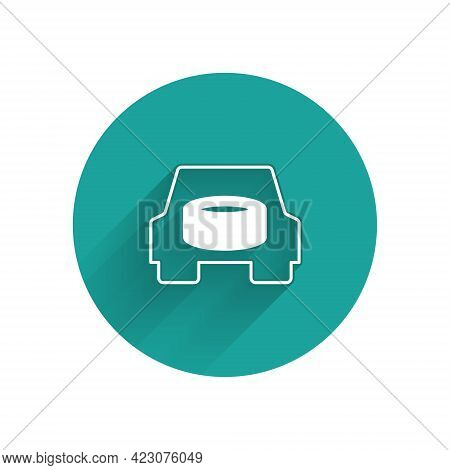 White Spare Wheel In The Car Icon Isolated With Long Shadow Background. Process Of Replacing The Whe