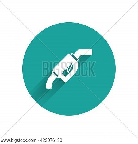 White Gasoline Pump Nozzle Icon Isolated With Long Shadow Background. Fuel Pump Petrol Station. Refu