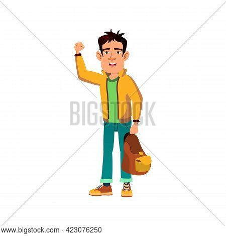 Boy Student With Backpack Showing Power Cartoon Vector. Boy Student With Backpack Showing Power Char