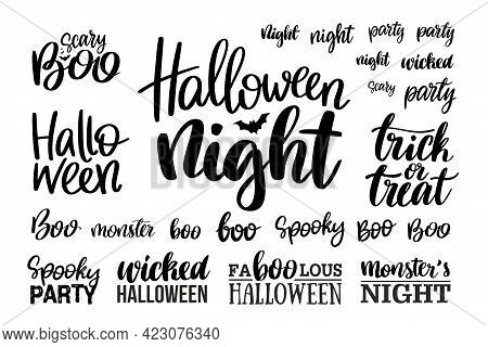 Hand Written Words And Phrases. Black And White Vector Doodle Illustration For Halloween