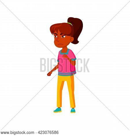 Unhappy Indian Girl Child Feeling Despair Cartoon Vector. Unhappy Indian Girl Child Feeling Despair