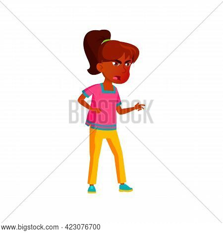 Malignant Hispanic Girl Quarrel With Friends Cartoon Vector. Malignant Hispanic Girl Quarrel With Fr