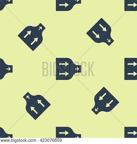 Blue Arrow Icon Isolated Seamless Pattern On Yellow Background. Direction Arrowhead Symbol. Navigati