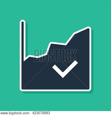 Blue Financial Growth Increase Icon Isolated On Green Background. Increasing Revenue. Vector