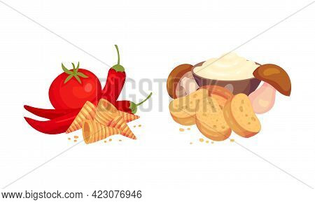Flavored Crouton As Pieces Of Seasoned Rebaked Bread Vector Set