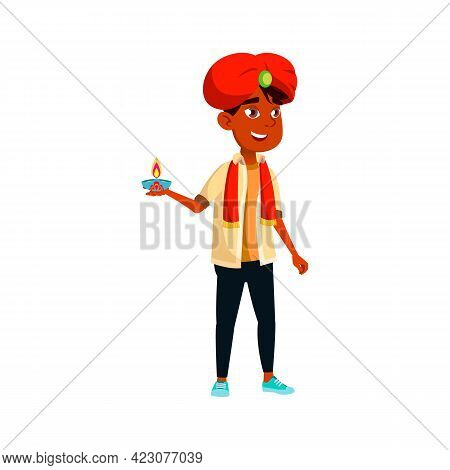 Smiling Indian Boy Child Holding Traditional Candle Cartoon Vector. Smiling Indian Boy Child Holding