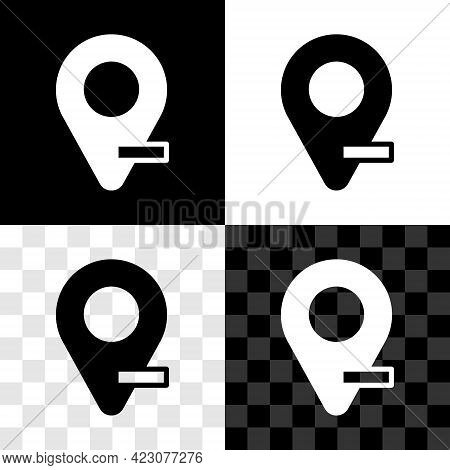 Set Map Pin Icon Isolated On Black And White, Transparent Background. Navigation, Pointer, Location,