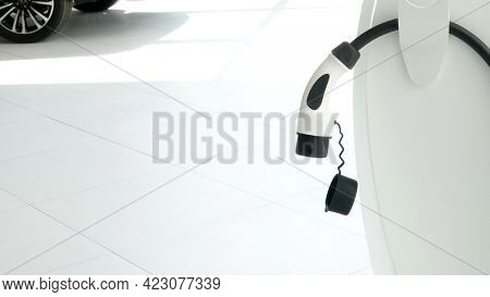 Fast electric car charger green energy environment friendly driving vehicle station. Modern transport fuel of future. Minimal design power unit