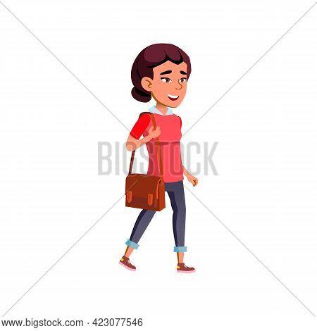 Beautiful Girl Student Go To University Cartoon Vector. Beautiful Girl Student Go To University Char