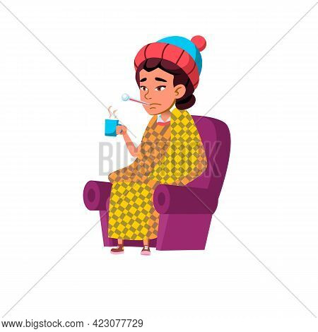Illness Flu Girl Sitting On Chair With Thermometer And Holding Hot Drink Cup Cartoon Vector. Illness
