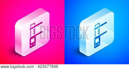 Isometric Calliper Or Caliper And Scale Icon Isolated On Pink And Blue Background. Precision Measuri