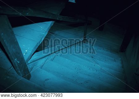 Mystical Horror Scary Garret Background To Halloween. Old Antique Dirty Wooden Staircase In The Dark