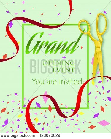 Grand Opening Event, You Are Invited Lettering. Opening Event Invitation Design. Typed Text, Calligr