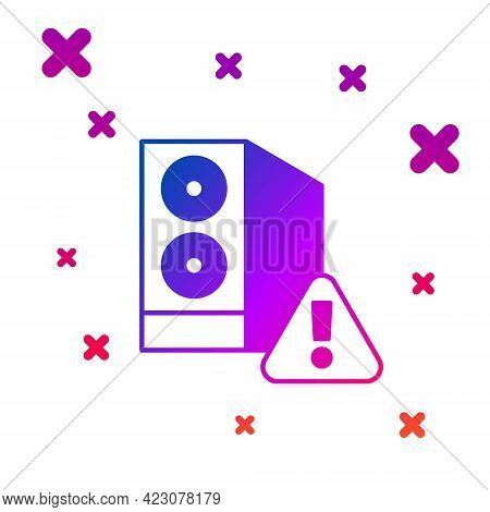 Color Case Of Computer With Exclamation Mark Icon Isolated On White Background. Computer Server. Wor