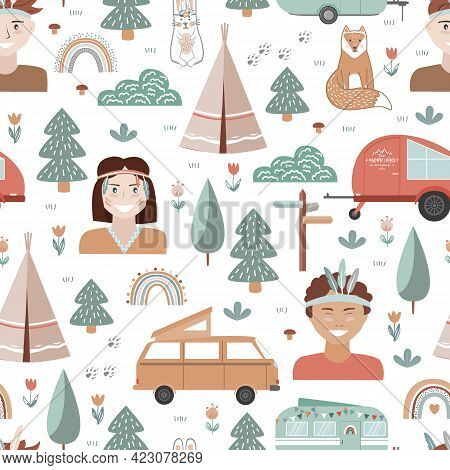 Hand Drawn Seamless Pattern With Summer Camping Equipment And Kids Dressed In Tribal Style. Trailers