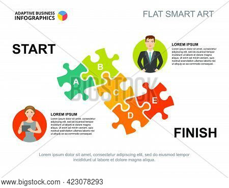 Jigsaw Puzzle Process Chart Template. Business Data. Abstract Elements Of Diagram, Graphic. Partners