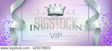 Vip Invitation Lettering With Silver Crown. Party Invitation Design. Typed Text, Calligraphy. For Le