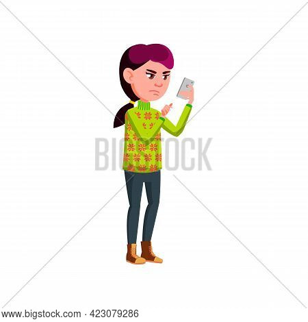 Mad Girl Chatting With Friend On Phone Cartoon Vector. Mad Girl Chatting With Friend On Phone Charac