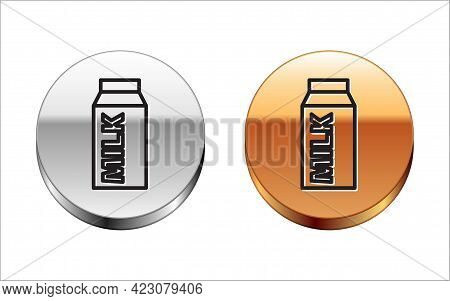 Black Line Paper Package For Milk Icon Isolated On White Background. Milk Packet Sign. Silver-gold C