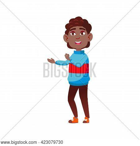 Happy African Boy Child In Mall Cartoon Vector. Happy African Boy Child In Mall Character. Isolated