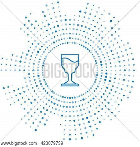 Blue Line Wine Glass Icon Isolated On White Background. Wineglass Icon. Goblet Symbol. Glassware Sig