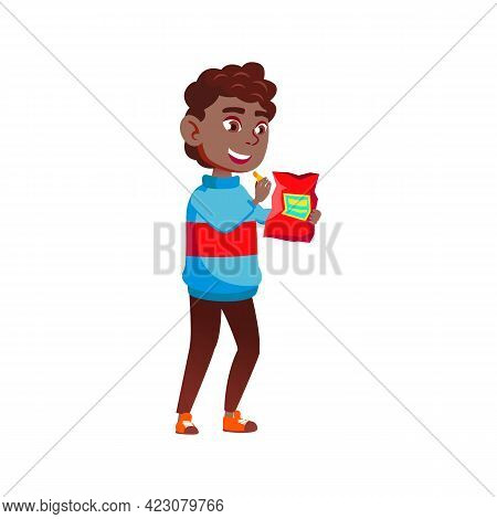 African Boy Child Eating Chips Snack From Package Cartoon Vector. African Boy Child Eating Chips Sna