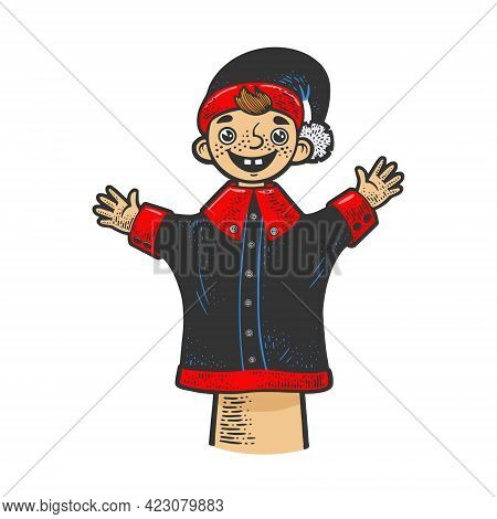Puppet Doll On Puppeteer Hand Color Line Art Sketch Engraving Vector Illustration. T-shirt Apparel P