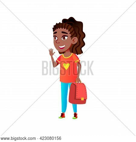 Girl Pupil Saying Good Bye Before School Cartoon Vector. Girl Pupil Saying Good Bye Before School Ch