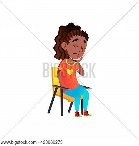 Sad African Girl With Toothache Cartoon Vector. Sad African Girl With Toothache Character. Isolated