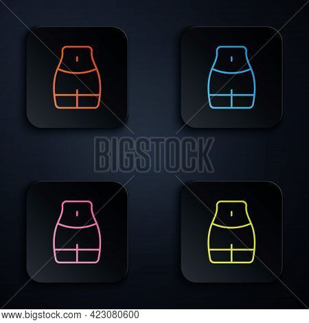 Color Neon Line Women Waist Icon Isolated On Black Background. Set Icons In Square Buttons. Vector