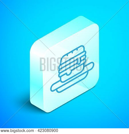Isometric Line Junk Food Icon Isolated On Blue Background. Prohibited Hot Dog. No Fast Food Sign. Si