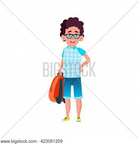 Happy Caucasian Boy Tourist Go To Expedition Cartoon Vector. Happy Caucasian Boy Tourist Go To Exped