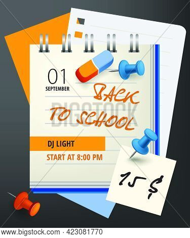 Back To School Lettering With Notebook And Pushpins. Invitation Design. Handwritten Text, Calligraph