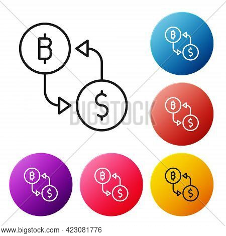 Black Line Cryptocurrency Exchange Icon Isolated On White Background. Bitcoin To Dollar Exchange Ico