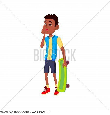 Boy With Skateboard Saw Accident On Track Cartoon Vector. Boy With Skateboard Saw Accident On Track