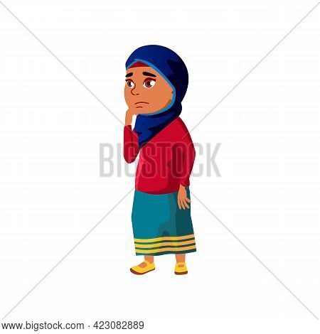 Thoughtful Muslim Girl Child Lost In City Cartoon Vector. Thoughtful Muslim Girl Child Lost In City