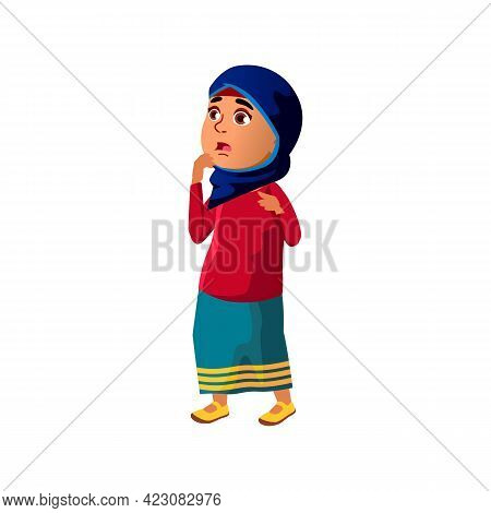 Shocked Islamic Girl In Hijab Found Out Secret Cartoon Vector. Shocked Islamic Girl In Hijab Found O
