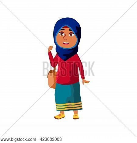 Happy Arab Girl Child With Bag Go To Elementary School Cartoon Vector. Happy Arab Girl Child With Ba
