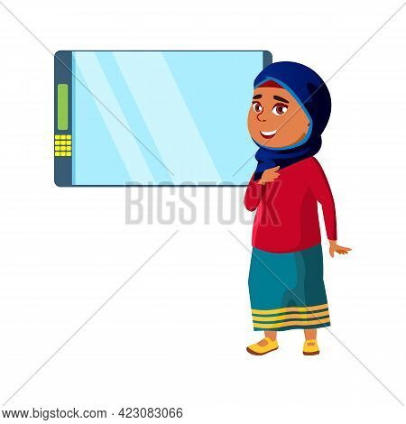 Smiling Islamic Girl Choosing Snack In Vending Machine Cartoon Vector. Smiling Islamic Girl Choosing