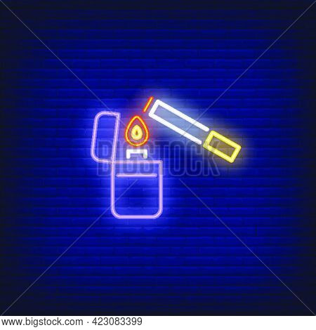 Lighter Lighting Up Cigarette Neon Sign. Smoking, Healthcare And Addiction Concept. Advertisement De