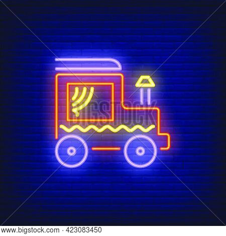 Locomotive With Chimney Neon Sign. Red Steam Locomotive With Curtains In Window. Night Bright Advert