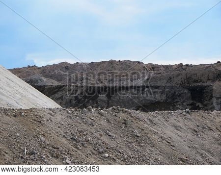 Close-up Of Large Heap Of Rock Stone Quarry Mining Resources.